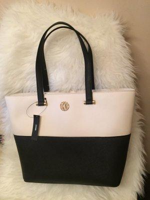 NEU DKNY Tasche Original Bryant Park Bag Saffiano Leder schwarz Creme weiß