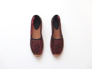 neu Dolce & Gabbana Espandrilles Gr. 39 Spitze lace rote schwarz Espandrillen