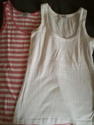Neu! Doppelpack Tops weiß, rosa Gr 32/34