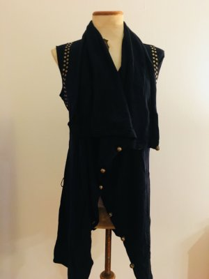 NEU // Dunkelblaue Long-Strick-Weste aus Kaschmir-Baumwoll-Gemisch von Liu Jeans