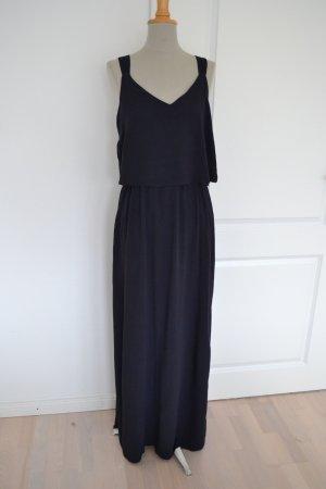 Neu dunkelblaues langes Kleid Maxi Cape-Oberteil Zara Viskose S 36