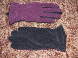 Neu! Echt Leder Handschuhe in Beere/Schwarz Gr. 7,5
