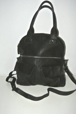 Neu - Echt Leder Shopper Tasche schwarz Impressionen -