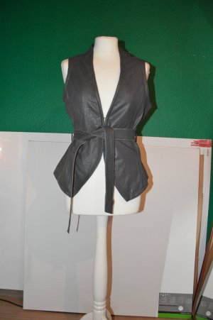 Yaya Leather Vest grey leather