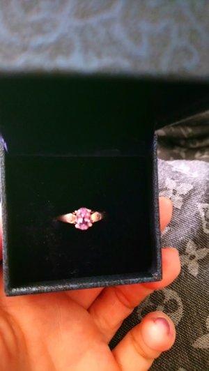 neu echtsilber ring rose vergoldet gr 17 mit amethyst