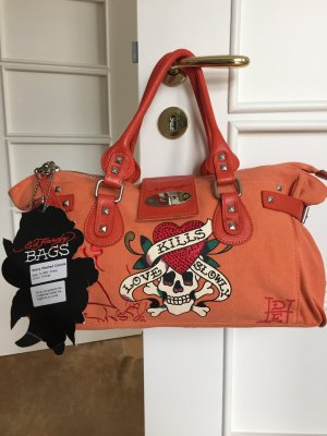 NEU!! Ed Hardy Canvas Tasche Diddy orange