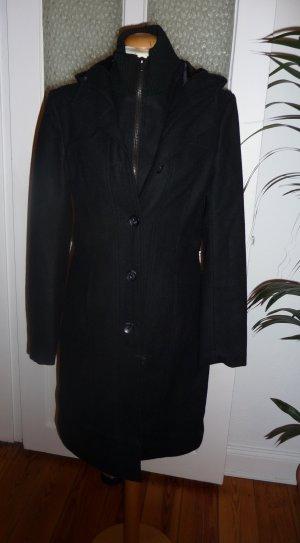Abrigo con capucha negro Lana