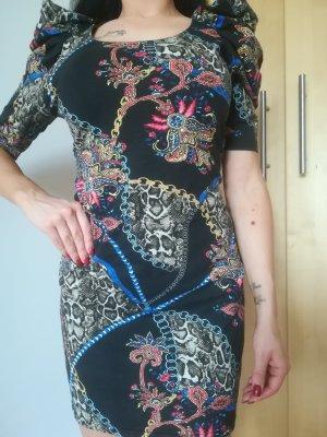NEU:Edles Kleid aus 100 % Baumwolle, mit hohen Aermeln und extravagantem Muster