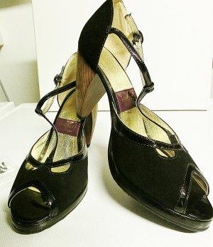 Zapatos de cuña negro Cuero