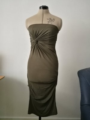 NEU elegantes khaki Kleid Schlauchkleid trägerlos