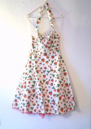 NEU *Erdbeer* weißes Neckholder-Kleid, 50ies-Stil, mit rotem Print