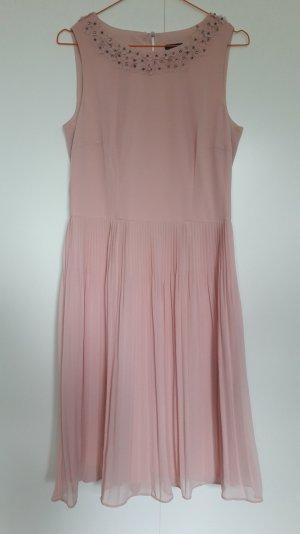 NEU Esprit ärmelloses Kleid mit Plisseerock Blumenkragen rosé festlich Chiffon Gr. 36