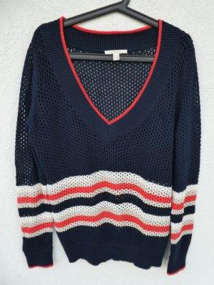 NEU - Esprit – Damen Grobstrick-Pulli mit V-Neck, dunkelblau