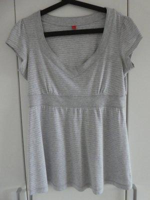 NEU – Esprit – T-Shirt, hellgrau mit feinen weißen Streifen
