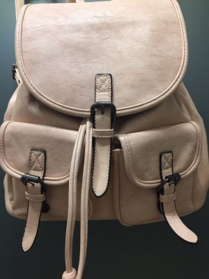 Backpack light pink imitation leather