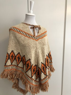 *NEU* Ethno-Look - Beiger Poncho mit orange-farbiges Muster
