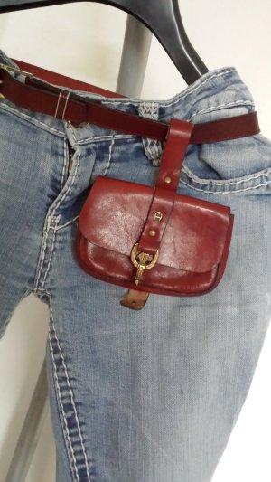Etienne Aigner Cintura di pelle rosso scuro Pelle