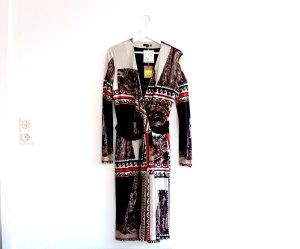 Neu ETRO Kleid Gr. itl. 44 dt. 38 40 schwarz beige rot gemustert Wickelkleid