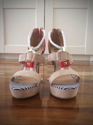 0039 Italy Plateauzool sandalen veelkleurig Leer