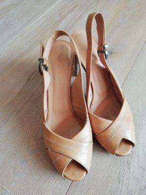 NEU Exquisite Damen Leder Sandalen High heels Beige Braun Gr. 38