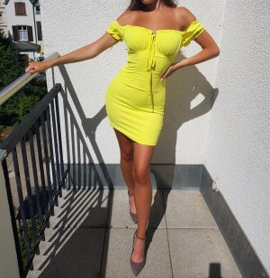 NEU Fashion Nova Kleid Geld Yellow XS Off Shoulder
