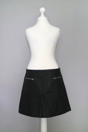 Mango Suit Rok van imitatieleder zwart-zilver Polyester