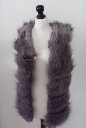Smanicato di pelliccia grigio-grigio scuro