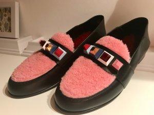 NEU Fendi Damen Loafer mit Nieten pink schwarz extravagant