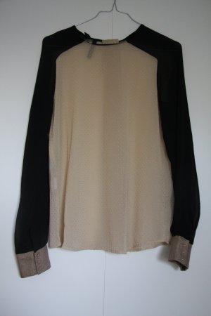NEU Festliche Bluse nude schwarz gold gepunktet Blockfarben Gr. XS