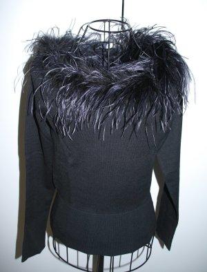 NEU festlicher Pullover mit Federkragen Straußenfeder, schwarz, Gr. 36