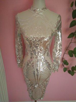 Robe à paillettes blanc cassé-argenté polyester