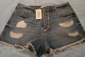 Forever 21 Pantalón corto de tela vaquera azul celeste-azul acero