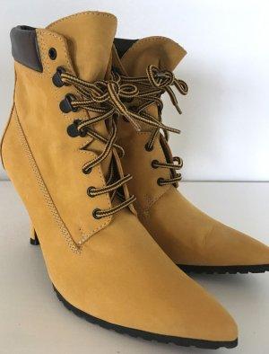 NEU Fornarina Ankle Boots High Heels 37 Wildleder Stiefeletten Gelb Echtleder Pumps Party Schuhe