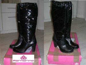 Fornarina Botas con cordones negro-gris antracita Cuero