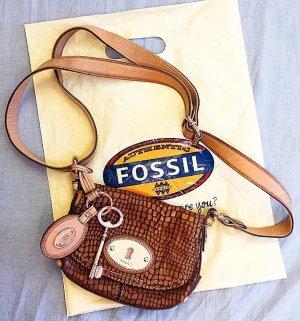 NEU, FOSSIL Handtasche aus hochwertigen, weichen Leder mit Anhänger in modernen Erdtönen