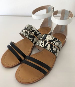NEU French Connection Sandalen Leder Weiß Snake 38 Echtleder Römer Gladiatoren