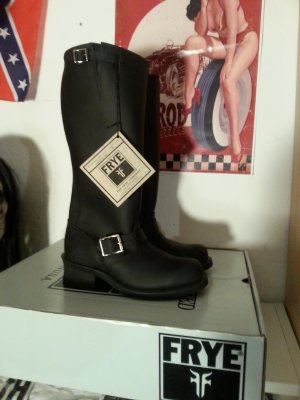 Frye Biker Boots black leather