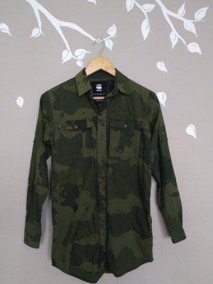 -Neu- G-Star Hemdbluse Boyfriend Fit Armee Look Bluse oversize leger stylisch Gr.34 xs