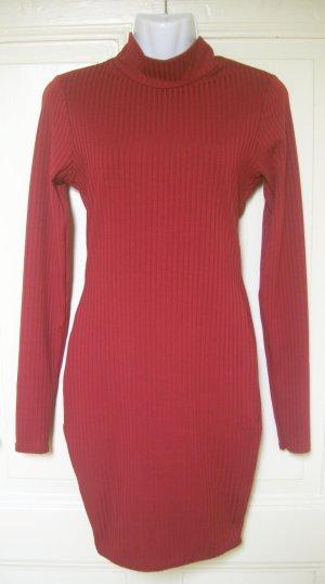 NEU Geripptes, langärmliges, hoch geschlossenes rotes Kleid Club L ASOS Gr. 36