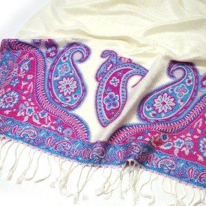 NEU GLAMOUR Pashmina Schal Paisley Muster Weiß Creme Rosa Tuch mit Glitzereffekt