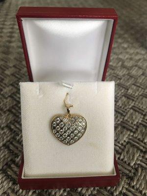 Neu goldener Herz Anhänger Charm Sterling Silber 925 14K vergoldet mit Zirkonia