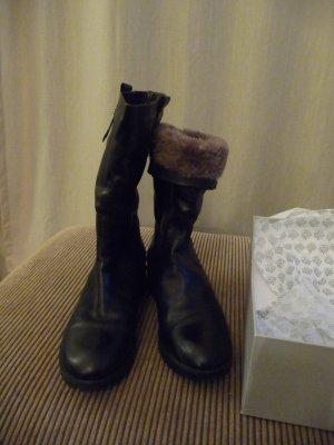 NEU Goldmarie Lammfell Stiefel  Leder Boots schwarz Gr. 40
