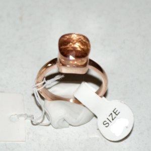 Anello d'oro color oro rosa-marrone chiaro Acciaio pregiato