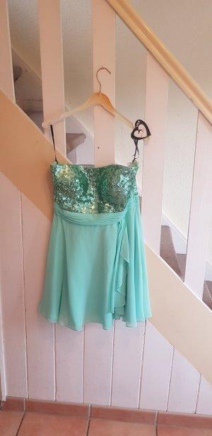 NEU Gr. 40 Vera Mont Cocktailkleid Kleid Mintgrün Pailletten Reißverschluss