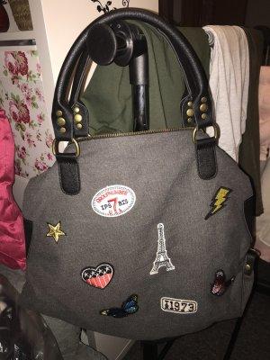 Neu Graue Tasche mit Patches