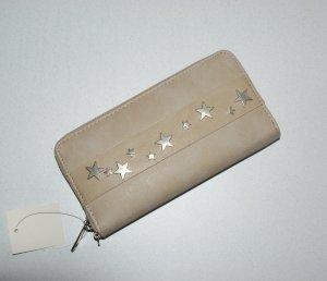 neu - große Geldbörse - Portemonnaie - Brieftasche - Clutch -  Nude mit silbernen Sternen-Nieten - ☆ ☀ ♥ DIE BESTEN SCHNÄPPCHEN - JETZT MEGA REDUZIERT ☆ ☀ ♥  WOCHENENDE SPEZIAL - DANACH WIEDER TEURER :-))