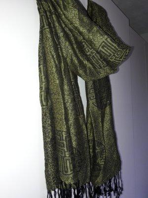NEU grüner Schal Stola Pashmina Kaschmir Seide Asia-Muster
