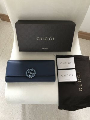 NEU! Gucci Borsa Broadway Clutch mit Swarovski Kristallen verziertes Logo