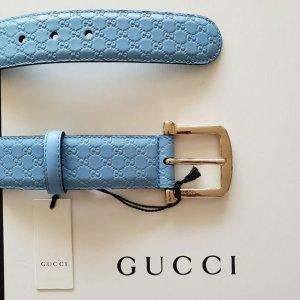 Gucci Ceinture en cuir bleu azur-doré