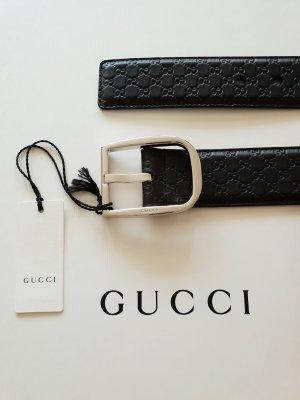 Gucci Ceinture en cuir argenté-brun foncé